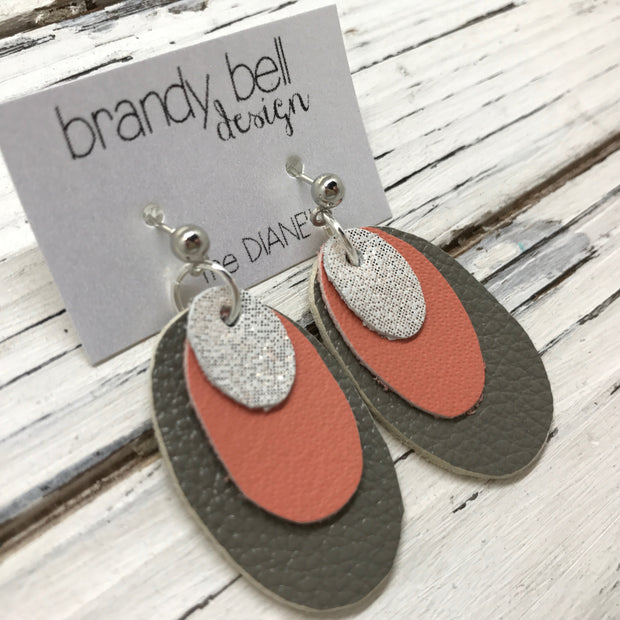 DIANE - Leather Earrings  ||   SHIMMER ROSE GOLD, MATTE CORAL, MATTE GRAY