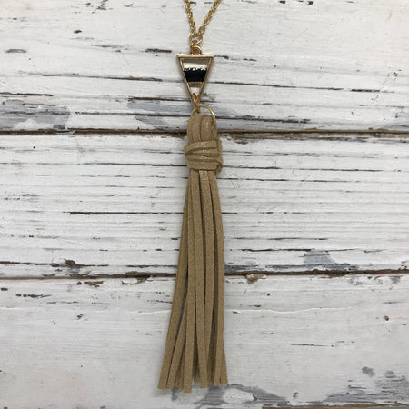 TASSEL NECKLACE - TIFFANIE   OOAK (One of a Kind)   ||  SPARKLE GOLD TASSEL WITH  DECORATIVE TRIANGLE BEAD