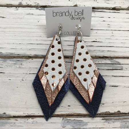 COLLEEN -  Leather Earrings  ||  WHITE WITH METALLIC ROSE GOLD POLKA DOTS, METALLIC ROSE GOLD TEXTURE, METALLIC TEXTURE NAVY BLUE