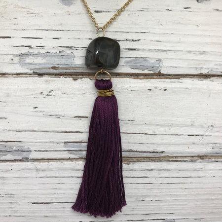 TASSEL NECKLACE - CAROLINA   OOAK (One of a Kind)   ||   DEEP PURPLE TASSEL WITH DECORATIVE BEAD