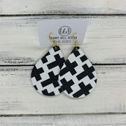 ZOEY (3 sizes available!) -  Leather Earrings  ||   BLACK & WHITE GEOMETRIC CROSSES