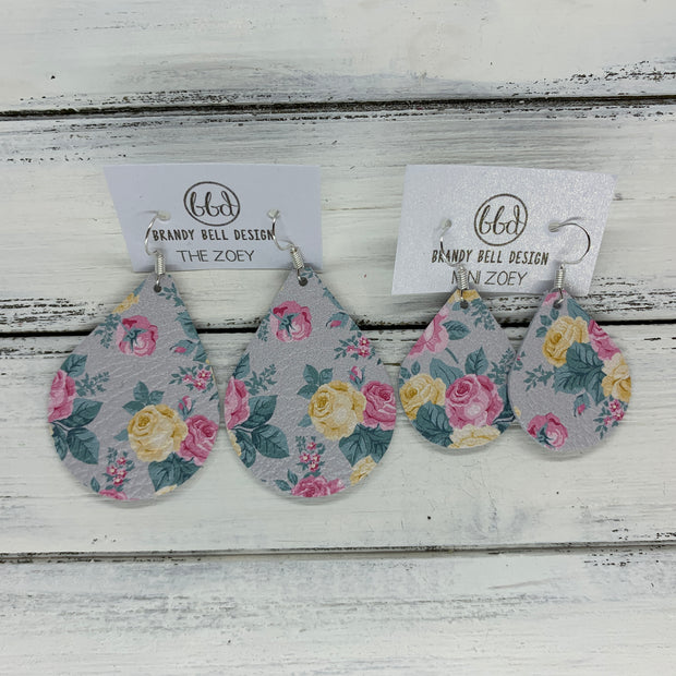 ZOEY (3 sizes available!) -  Leather Earrings  ||   PINK FLORAL ON GRAY