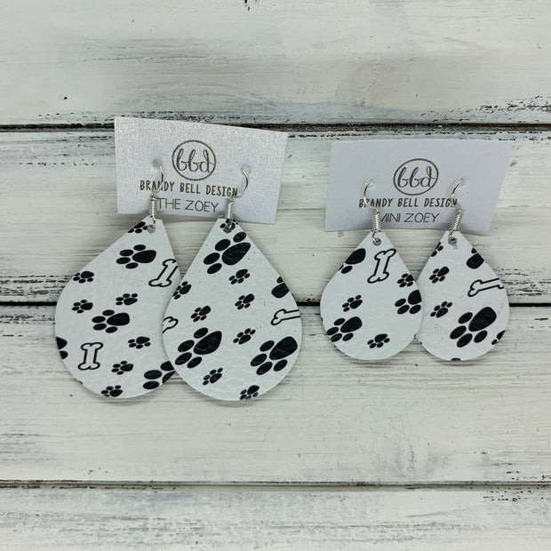 ZOEY (3 sizes available!) -  Leather Earrings  ||   DOG BONE & PAWS