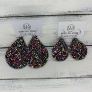ZOEY (3 sizes available!) -  Leather Earrings  ||   TREASURE CHEST (GLITTER FAUX LEATHER)