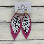 ALLIE -  Leather Earrings  ||  <BR> BLACK & WHITE CHEETAH PRINT, <BR> HOT PINK BRAIDED WEAVE