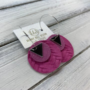 TRIXIE - Leather Earrings  ||    <BR> SILVER TRIANGLE, <BR> SHIMMER PINK,  <BR> HOT PINK PANAMA WEAVE