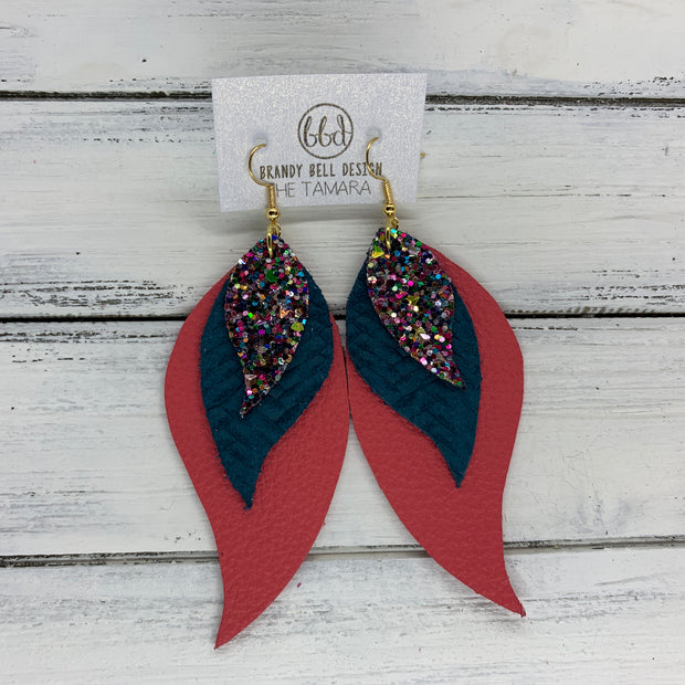 TAMARA - Leather Earrings  ||  <BR> TREASURE CHEST GLITTER (not real leather) <BR> DARK TEAL BRAIDED WEAVE <BR> MATTE CORAL/PINK