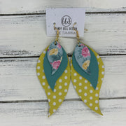 TAMARA - Leather Earrings  ||  <BR> PINK & YELLOW FLORAL ON AQUA,  <BR> PEARLIZED AQUA, <BR> YELLOW WITH WHITE POLKADOTS