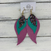 TAMARA - Leather Earrings  ||  <BR> TREASURE CHEST (not real leather) <BR> PEARLIZED AQUA <BR> SHIMMER PINK