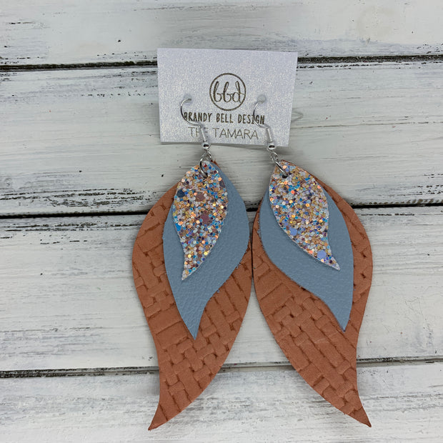TAMARA - Leather Earrings  ||  <BR> PEACHES & CREAM (not real leather), <BR> MATTE BABY BLUE, <BR> CORAL PANAMA WEAVE