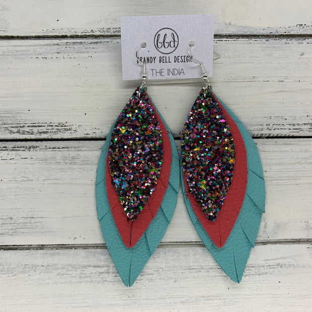 INDIA - Leather Earrings   ||  <BR>  TREASURE CHEST (Faux leather)  <BR> MATTE CORAL/PINK, <BR> MATTE ROBINS EGG BLUE