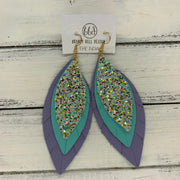 INDIA - Leather Earrings   ||  <BR>  MERMAID MAGIC (Faux Leather),  <BR> MATTE ROBINS EGG BLUE, <BR> MATTE LAVENDER