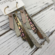 AUDREY - Leather Earrings  ||  PINK WITH GOLD ACCENTS, SHIMMER GOLD, PINK/GREEN MERMAID, METALLIC GOLD, IVORY STINGRAY