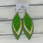 INDIA - Leather Earrings   ||  <BR>  SHAMROCK GLITTER (Faux Leather),  <BR> YELLOW & WHITE STRIPES, <BR> MATTE SPRING GREEN
