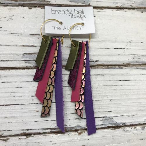 AUDREY - Leather Earrings  ||   OLIVE GREEN, SHIMMER MAGENTA, MATTE PINK, PINK/GREEN MERMAID, MATTE PURPLE