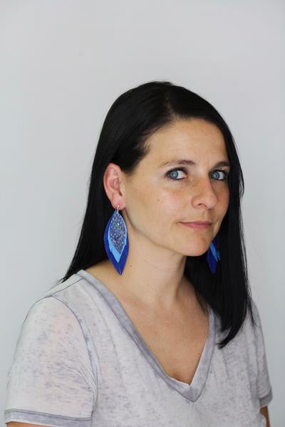 INDIA - Leather Earrings   ||  <BR> HANUKKAH PRINT ON WHITE,  <BR> MATTE CAROLINA BLUE, <BR> SHIMMER NAVY