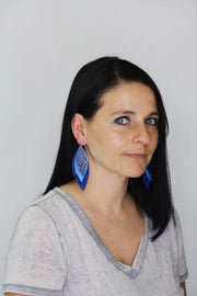 INDIA - Leather Earrings   ||  <BR> SANTAS ON BLUE,  <BR> RED AND WHITE BUFFALO PLAID, <BR> METALLIC RED PEBBLED