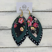GINGER - Leather Earrings  ||  <BR>  PINK & YELLOW FLORAL ON BLACK, <BR> MATTE SPRUCE GREEN, <BR> BLACK & WHITE POLKADOTS