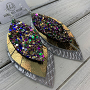 GINGER - Leather Earrings  ||  <BR>  MARDI GRAD GLITTER (Faux Leather), <BR> METALLIC GOLD, <BR> METALLIC SILVER PANAMA WEAVE