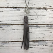 TASSEL NECKLACE - TIFFANIE   ||  DARK GRAY TASSEL WITH SILVER CAGE WITH GEM