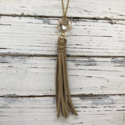 TASSEL NECKLACE - TIFFANIE    ||  SPARKLE GOLD WITH GOLD CAGE BEAD WITH CLEAR GEM