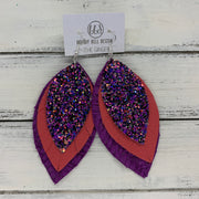 GINGER - Leather Earrings  ||  <BR>  THAT'S MY JAM GLITTER (NOT REAL LEATHER), <BR> MATTE CORAL/PINK, <BR> PURPLE BRAIDED