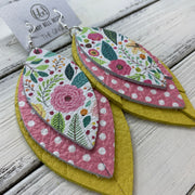 GINGER - Leather Earrings  ||  <BR>  SPRING FLORAL ON WHITE, <BR> PINK & WHITE POLKADOTS, <BR> MATTE YELLOW