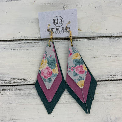 COLLEEN -  Leather Earrings  ||   PINK & YELLOW FLORAL ON GRAY, <BR> MATTE MAUVE, <BR> MATTE SPRUCE GREEN