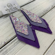 COLLEEN -  Leather Earrings  ||   FAIRY DUST GLITTER (FAUX LEATHER), <BR> MATTE LAVENDER, <BR> MATTE PURPLE