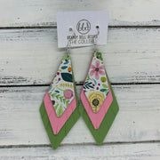 COLLEEN -  Leather Earrings  ||  SPRING FLORAL ON WHITE, <BR> MATTE PINK, <BR> MATTE SPRING GREEN
