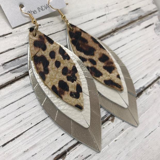 INDIA - Leather Earrings  ||   CHEETAH, WHITE PEARL, METALLIC CHAMPAGNE SMOOTH