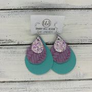 LINDSEY - Leather Earrings  ||   <BR>  FAIRY DUST GLITTER (FAUX LEATHER), <BR> LILAC BRAIDED ,  <BR> MATTE ROBINS EGG BLUE