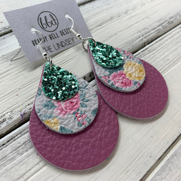 LINDSEY - Leather Earrings  ||   <BR>  SEAFOAM GLITTER (FAUX LEATHER), <BR> PINK & YELLOW FLORAL ON GRAY,  <BR> MATTE MAUVE