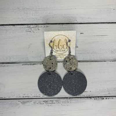 CALLIE -  Leather Earrings  ||  <BR> IVORY STINGRAY, <BR> SHIMMER GRAY