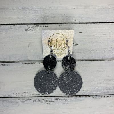 CALLIE -  Leather Earrings  ||  <BR> METALLIC SILVER SMOOTH, <BR> SHIMMER GRAY