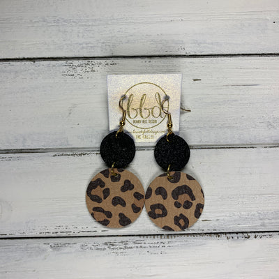 CALLIE -  Leather Earrings  ||  <BR> SHIMMER BLACK, <BR> CARAMEL CHEETAH