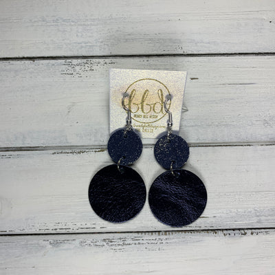 CALLIE -  Leather Earrings  ||  <BR> SHIMMER NAVY, <BR> METALLIC NAVY SMOOTH