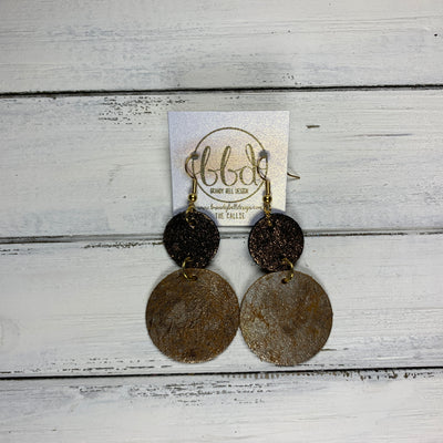 CALLIE -  Leather Earrings  ||  <BR> SHIMMER COPPER ON BLACK, <BR> DISTRESSED SILVER ON GOLD
