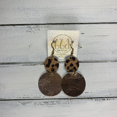 CALLIE -  Leather Earrings  ||  <BR> CARAMEL CHEETAH, <BR> METALLIC ROSE GOLD SMOOTH