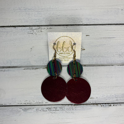 CALLIE -  Leather Earrings  ||  <BR> MULTICOLOR STRIPE, <BR> METALLIC CRANBERRY SMOOTH