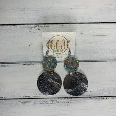 CALLIE -  Leather Earrings  ||  <BR> GLAMOUR GLITTER (FAUX LEATHER), <BR> METALLIC SILVER SMOOTH