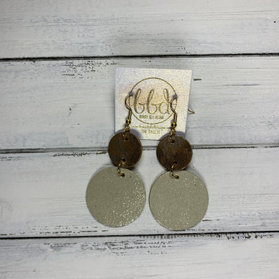CALLIE -  Leather Earrings  ||  <BR> DISTRESSED SILVER ON GOLD, <BR> SHIMMER GOLD