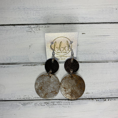 CALLIE -  Leather Earrings  ||  <BR> METALLIC ROSE GOLD SMOOTH, <BR> DISTRESSED SILVER ON GOLD