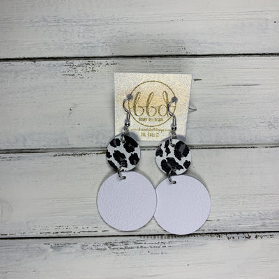 CALLIE -  Leather Earrings  ||  <BR> WHITE & GRAY CHEETAH, <BR> MATTE WHITE