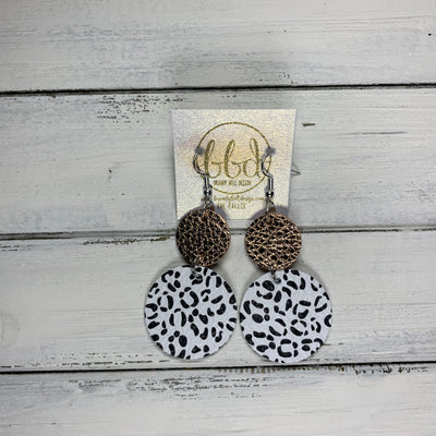CALLIE -  Leather Earrings  ||  <BR> METALLIC ROSE GOLD PEBBLED, <BR>BLACK & WHITE CHEETAH