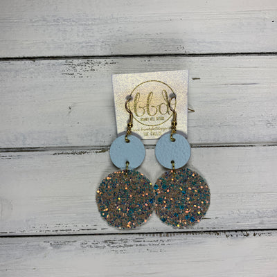 CALLIE -  Leather Earrings  ||  <BR> MATTE BABY BLUE, <BR> GLAMOUR GLITTER (FAUX LEATHER)