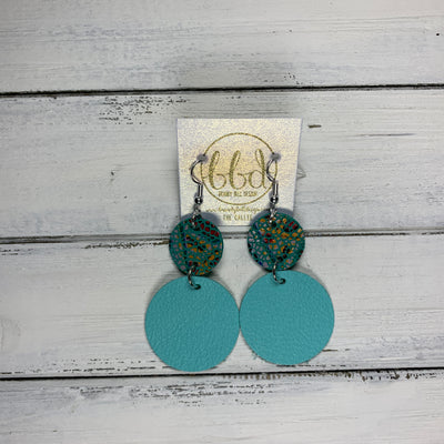 CALLIE -  Leather Earrings  ||  <BR> MULTICOLOR TEAL CRACKLE, <BR> MATTE ROBINS EGG BLUE