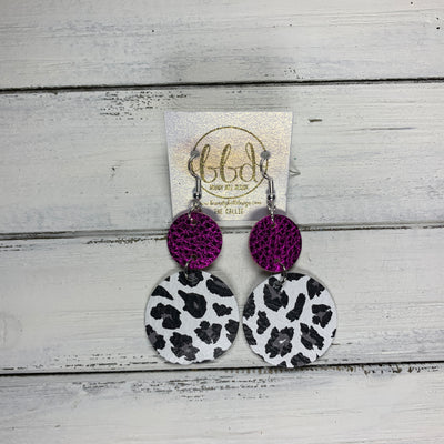 CALLIE -  Leather Earrings  ||  <BR> METALLIC NEON PINK PEBBLED, <BR> WHITE & GRAY CHEETAH