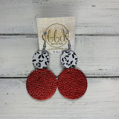 CALLIE -  Leather Earrings  ||  <BR> BLACK & WHITE CHEETAH, <BR> METALLIC RED PEBBLED