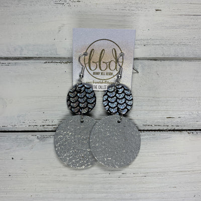 CALLIE -  Leather Earrings  ||  <BR> SILVER & BLACK MERMAID, <BR> SHIMMER SILVER